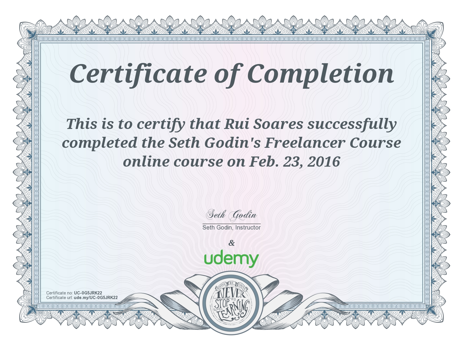 Itil blues itil rants and raves certificate for seth godins freelancer course at udemy xflitez Images
