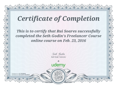 Certificate for Seth Godin's - Freelancer Course at Udemy